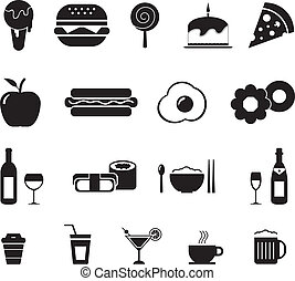 Food and Drink Icon Black and White
