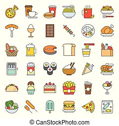 food and drink icon, gastronomy concept filled outline
