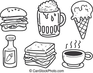 food and drink icon in doodle style