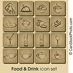Food and drink icon set - Food and drink vector icon set....