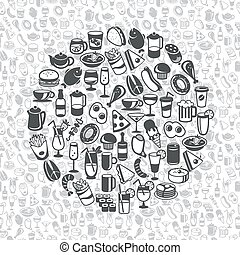 food and drink icons - icons of different food and drinks,...