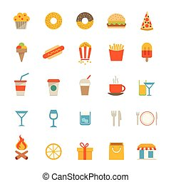 Food And Drink Icons - A set of flat food and drink icons