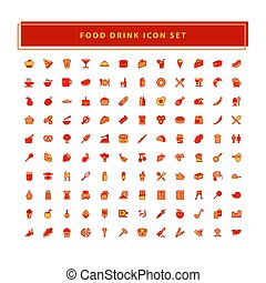 Food and Drink icons set vector with filled outline style design