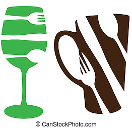 Food and Drink icons - wine glass and coffee mug with...