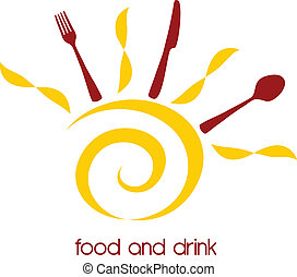 Food and drink logo with stylized sun and cutlery table