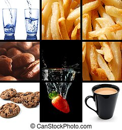 food and drink images in a collage or collection