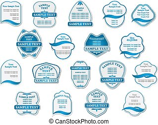 Food and drink labels or stickers - Vintage blue food and...