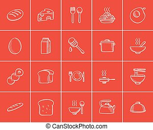 Food and drink sketch icon set. - Food and drink sketch icon...