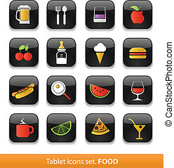 Food and drink. Tablet buttons collection isolated on white