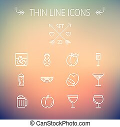 Food and drink thin line icon set for web and mobile. Set...