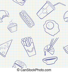 Food and Drink Vector Hand Drawn Seamless Pattern