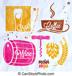 food and drink watercolor set beer wine coffee