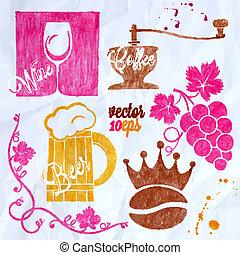 food and drink watercolor set coffee wine beer