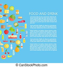 Food and Drinks Banner with Dairy Products