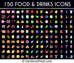 Food and drinks big icons set
