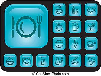 Food and drinks buttons - Food and drinks button set