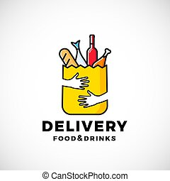 Food and Drinks Delivery Abstract Vector Sign or Logo Template. Paper Bag with Hands, Bread, Wine, Fish, etc. Shopping Emblem or Catering Icon.