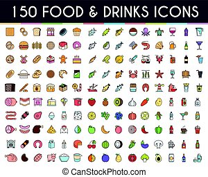 Food and drinks flat line icons