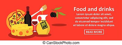 Food and drinks italy banner horizontal concept. Flat...