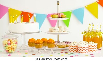 food and drinks on table at birthday party - party and...