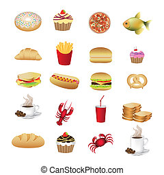 food and drinks over white background vector illustration