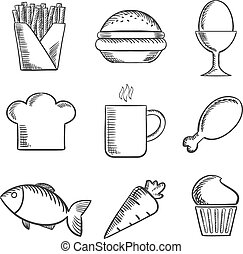 Food and drinks sketched icons set