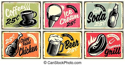 Food and drinks vintage restaurant signs collection
