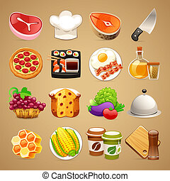 Food and Kitchen Accessories Icons Set1.1 - Food and Kitchen...