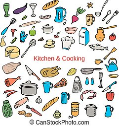 Food and kitchen color hand drawn icons set