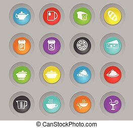 food and kitchen colored plastic round buttons icon set