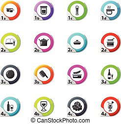 Food and kitchen icons set - Food and kitchen web icons for...