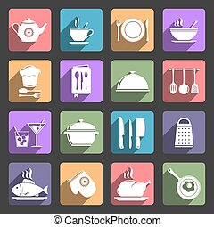 Food and kitchen icons with long shadow