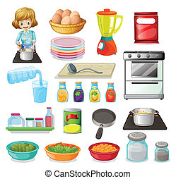 Food and kitchenware - Illustration of a set of food and...