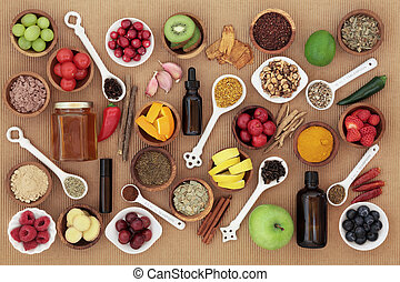 Food and Medicine for Cold Remedy - Large food and...