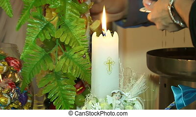 Food and religion - On the table is the holy candle and...