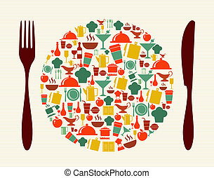Food and restaurant concept illustration