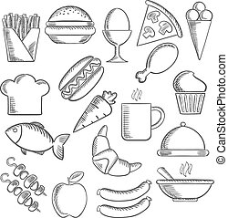 Food and snacks sketch icons - Food, snacks and drinks...
