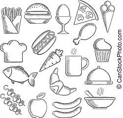 Food and snacks sketch icons - Food, snacks and drinks...
