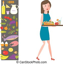 Slender girl with healthy food