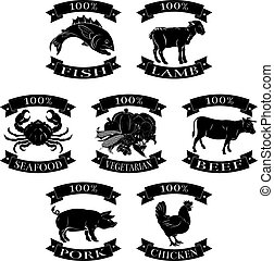 Food animals 100 percent set for beef chicken fish pork lamb...