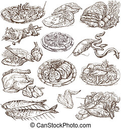 Food around the World, an hand drawn illustration - From the...