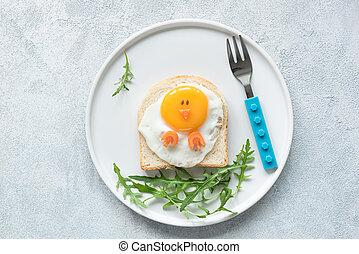 Food art chicken sandwich for kids, top view