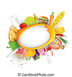 Food Background - illustration of food item with fruit and...