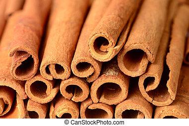 food background of cassia cinnamon sticks