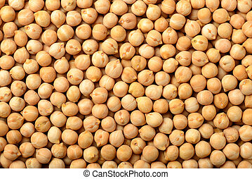 food background of raw chickpeas, top view