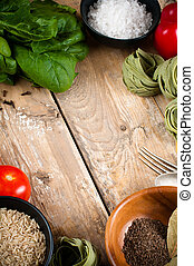 Food background on wooden board