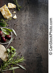 Food Background - Food background with parmesan cheese,...