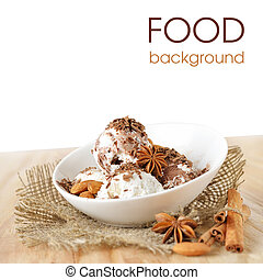 Food background. Scoops of ice cream with nuts and chocolate