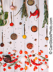 Food background. Seasonings flat lay.