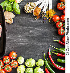 food background for text with herbs and vegetables